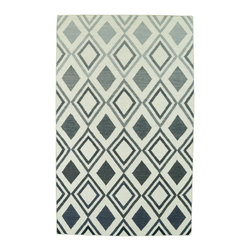 Kaleen - Kaleen Glam Collection Gla09-75 8'X10' Grey - The Glam collection puts the fab in fabulous! No matter if your decorating style is simplistic casual living or Hollywood chic, this collection has something for everyone! New and innovative techniques for a flatweave rug, this collection features beautiful ombre colorations and trendy geometric prints. Each rug is handmade in India of 100% wool and is 100% reversible for years of enjoyment and durability.