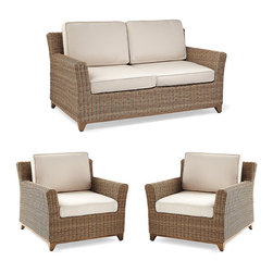 Frontgate - Somerset 3-pc. Outdoor Loveseat Set, Patio Furniture - Versatile collection, available in traditional and modular configurations. Handwoven premium resin wicker. Nuanced umber finish imparts added dimension to the rounded all-weather wicker. Modular configuration includes a chaise option. Exposed aluminum frame and tapered feet have a multistep faux-bois finish. As equally at home on a New England porch as it is on a Southern California beach, our Somerset Collection has a warm, umber-hued weave that coordinates with a multitude of environments. The design elevates the look of woven furniture, with an exposed frame and a slight flare to the arms and back. Plus, the modular grouping can be configured with a chaise for utmost comfort.  .  .  .  .  . Gentle splay of arms and back refines the look of a standard block arm while delivering a comfortable sit . 100% solution-dyed acrylic and woven fabrics . All-weather cushions have a high-resiliency foam core wrapped in plush polyester . Pair with the Napa dining table and side tables .