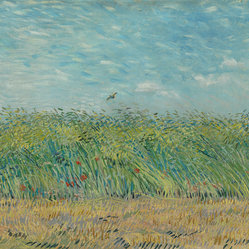 Wheatfield with Partridge, Vincent van Gogh, 16x20
