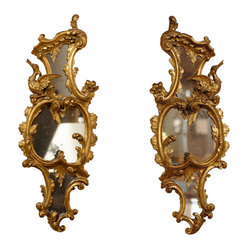 Pair of Chippendale Sconces - Elegant opulence is yours when you hang this pair of Chippendale sconces on your wall. These antique wood and mirror pieces are the real deal — handcarved in England, circa 1840s, and preserved with the original gilt and glass.