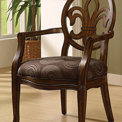 None - Fleur de Lis Chocolate Chair - The classy design of this distinctive Fleur de Lis chair is the perfect way to enrich your home decor. This comfortable living room furniture is upholstered in chocolate-colored polyester velvet that features a swirling dot and circle pattern.