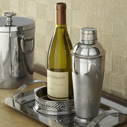 """Lauren Ralph Lauren - Lauren Ralph Lauren """"Equestrian Braid"""" Bar Tray - Embossed braided accents—inspired by the leather bridles of show horses—add texture and panache to classic bar tools. From Lauren Ralph Lauren. Made of stainless steel. Hand wash. Wine coaster, 5.75""""Dia. Shaker, 4""""Dia. x 9.75""""T. Bar tray,..."""
