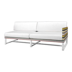 Mamagreen - Stripe Armleft 2-Seater - The Stripe Armleft 2-Seater Corner Sectional Sofa Combines highly weather resistant powder coated aluminum with durable textile. The seat cushions have been carefully designed for comfort and utility. Available in a variety of mesh colors.