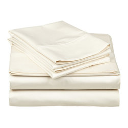 DBC Luxury Bed Linen - 1500 Thread Count 4 Piece Sheet Set, Light Cream, King Size, Solid - 4 Piece King Size Sheet Set