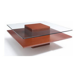 Jesper Office Furniture - 2000 Series Square Wood/ Glass Coffee Table in Cherry - Features: