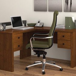 "Bestar - Somerville Corner Desk - Features: -Somerville collection. -Melamine finish that resists scratches, stains and burns. -Durable .75"" commercial grade work surfaces. -Decorative rail under top and pedestals. Classic metal handles. -Features efficient wire management to keep your work surface organized. -Compact collection styled for home and smaller spaces. -12"" Width pedestals (two utility drawers and a file drawer). -File drawer mounted on ball-bearing slides for smooth and silent operation. Dimensions: -29.5"" H x 53.5"" W x 53.5"" D, 125 lbs."