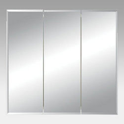Broan-NuTone - Broan-Nutone Horizon Triple Door 24W x 24H in. Recessed Medicine Cabinet 255024 - Shop for Bathroom Cabinets from Hayneedle.com! The Broan-Nutone Horizon Triple Door Recessed Medicine Cabinet - 24W x 24H in. offers ample storage behind its beveled mirror doors. The three doors have a classic beveled edge and open to reveal two steel adjustable shelves. Doors are attached with concealed hinges making the exterior appear smoother. About Broan-NuToneBroan-NuTone has been leading the industry since 1932 in producing innovative ventilation products and built-in convenience products all backed by superior customer service. Today they're headquartered in Hartford Wisconsin employing more than 3200 people in eight countries. They've become North America's largest producer of medicine cabinets ironing centers door chimes and they're the industry leader for range hoods bath and ventilation fans and heater/fan/light combination units. They are proud that more than 80 percent of their products sold in the United States are designed and manufactured in the U.S. with U.S. and imported parts. Broan-NuTone is dedicated to providing revolutionary products to improve the indoor environment of your home in ways that also help preserve the outdoor environment.