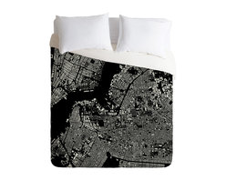DENY Designs - DENY Designs CityFabric Inc Brooklyn Black Duvet Cover - Lightweight - Turn your basic, boring down comforter into the super stylish focal point of your bedroom. Our Lightweight Duvet is made from an ultra soft, lightweight woven polyester, ivory-colored top with a 100% polyester, ivory-colored bottom. They include a hidden zipper with interior corner ties to secure your comforter. It is comfy, fade-resistant, machine washable and custom printed for each and every customer. If you're looking for a heavier duvet option, be sure to check out our Luxe Duvets!
