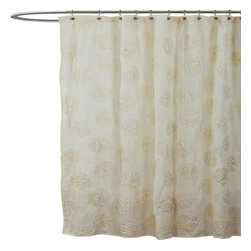 Lush Decor - Samantha Ivory Shower Curtain - Includes 1 Shower curtain. Fabric Content:100% Polyester. Care Instructions: Dry clean. 72 in. W x 72 in. H You will just love the way the detail of the ribbon embroidery looks on the surface of this microfiber shower curtain. The surface treatment bring dimension to the design creating a warm and inviting look for your shower.