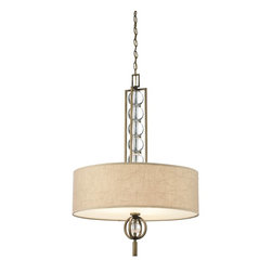 """KICHLER - KICHLER KCH-42192CMZ Celestial Transitional Inverted Pendant Light - Finishing touches abound in this 1 light wall sconce from the Celestial Collection. The taupe shade features a """"crinkled"""" effect on the fabric and rests on a glass diffuser that simulates true highlights and shadows with a gradated umber tone. A faux marble finial drapes to complete the look.For additional chain order 2996-CMZ"""
