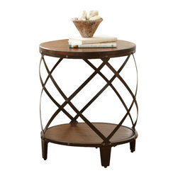 "Steve Silver - Steve Silver Winston 20 Inch Round End Table - The modern industrial design of the Winston Collection complements both casual and upscale eclectic decor. The Winston round end table stands 24"" high, with a 20"" round wood top, decorative curved metal frame and a bottom shelf for storage. This eye-catching piece complements the Winston cocktail table and sofa table. What's included: End Table (1)."