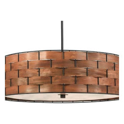 Kenroy - Kenroy-92038DWW-Shaker - Three Light Pendant - A chunky basket weave with a rich wood grained glow form this stunningly simple and elegant drum pendant. Delicate real wood strips thread around a sturdy metal frame.