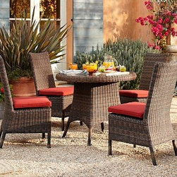 "Torrey All-Weather Wicker Round Bistro Table & Chair Set, Espresso - Wicker has been prized since ancient times for its durability, beauty and lightness in creating furniture. Our Torrey Collection captures the great qualities of natural wicker, but is actually made from a strong synthetic that stands up to all kinds of weather. The bistro dining set features a traditional basket weave. Click to read an article on {{link path='pages/popups/torrey-care_popup.html' class='popup' width='640' height='700'}}recommended care{{/link}}. Table: 36.5"" diameter, 30.5"" high Chair: 20"" wide x 24"" deep x 38.5"" high Frame is crafted of welded aluminum and handwoven all-weather wicker. Woven from a durable synthetic that replicates the look and feel of wicker, but is remarkably resistant to sun, rain, heat and cold. Features glass top with an opening at the center of the table that accommodates all of our outdoor umbrellas. Set of 5 includes table and four side chairs. Chairs each include a quick-drying seat cushion with a water-repellent polyester canvas slipcover in Natural; imported. Get a colorful update with additional slipcovers (sold separately) in water-repellent, ring-spun polyester canvas, or fade and stain-resistant Sunbrella(R) fabric; imported. Sunbrella(R) cushions and slipcovers are special order items which receive delivery in 34 weeks. Please click on the shipping tab for shipping and return information. View our {{link path='pages/popups/fb-outdoor.html' class='popup' width='480' height='300'}}Furniture Brochure{{/link}}."