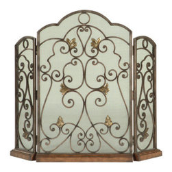 Ambella Home - Scrolled Iron 3-Panel Fireplace Screen - Three hinged panels of wrought iron twist delicately across the Scrolled Iron fireplace screen and sit atop a wooden base. Dimensions: 45 in. x 2 in. x 37 in.