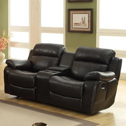 Darrin Leather Reclining Loveseat with Console - Black - The trickiest part about owning the Darrin Leather Reclining Loveseat with Console – Black is knowing when to take the popcorn out of the microwave before it burns. You may not even notice a few extra-crispy kernels after you sink into the leather-wrapped luxuriousness of this dual-reclining loveseat. A sturdy frame is covered with plush foam cushions and an exterior of supple black leather. A central console opens for storage and a pair of cup-holders let you keep a cool drink safely at hand. Each side also sports a simple reclining lever so you can get off those tired feet any time you need.About Homelegance, Inc.Homelegance takes pride in offering only the highest quality home furnishings that incorporate innovative design at the best value. From dining sets to mirrors, sofas, and accessories, Homelegance strives to provide customers with a wide breadth and depth of selection as well as the most complete and satisfying service available for their category. Homelegance distribution centers are conveniently located throughout the United States and Canada.