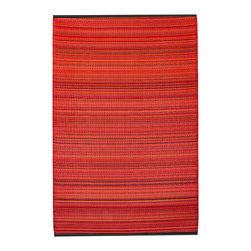Fab Habitat - Cancun Rug, Sunset (4' x 6') - Transport yourself to a tropical climate with this eco-chic rug. Crafted using Fair Trade principles, this is a rug you can feel good about. Its unique striped pattern is created using high quality recycled woven plastic straws, and comes in a variety of sizes. This innovative, stylish rug is made of all-weather materials, and therefore appropriate for use indoors or out on the patio.