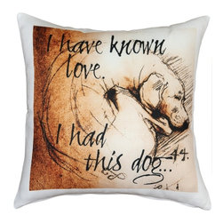 Pillow Decor - Leonardo's Dogs I Have Known Love  Dog Pillow - Created in the style of a Leonardo da Vinci sketch, this curled dog image is applied to a wonderfully soft and natural feeling indoor/outdoor poly-linen fabric. The I Have Known Love Dog Pillow makes a great gift for anyone who owns and loves this gentle and faithful breed. Or incorporate this pillow into your own home to celebrate the unconditional affection that your dog shares with you. A Leonardo's Dogs original.