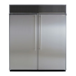 """Marvel - M72CSSWS 72"""" Side-by-Side Double Cabinet Refrigerator  with Full Extension Glide - Each of MARVELs side-by-side refrigeratorfreezers displays our commitment to superior construction choice and capacity Interiors are solidly built in your choice of arctic white aluminum or gleaming stainless steel All products are frost-free and hav..."""