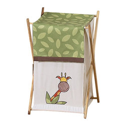Sweet Jojo Designs - Jungle Time Hamper - Jungle Time Laundry Hamper will help complete the look of your Sweet Jojo Designs room. This adorable laundry clothes hamper includes a wooden frame, mesh liner and fabric cover. The removable hamper body is secured to the wooden frame with corner loops and Velcro. The wooden stand folds flat for space-saving storage and the removable mesh liner is great for toting laundry. Dimensions: 26.5in. x 15.5in. x 16in. Wooden FrameMesh LinerFabric Cover