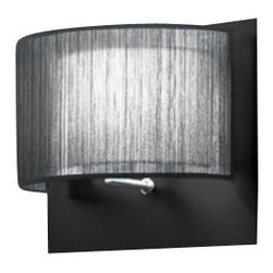 """Modiss - Modiss Bams Long Wall Sconce - The Bams Long Wall Sconce from Modiss has been designed by Alfonso Fontal 2009. The Bams long wall sconce from Modiss is offered with an outer shade in white or black organza and an inner shade in white polyester parchment. Diffused light reflects off the satin chrome backplate and shines through the organza shade, providing an ambient glow. Features an adjustable led arm ideal for providing direct, task lighting. Moonlight can have a strange effect on some people. This could also be said about the Bams long wall sconce. The light shines through the organza shade with an elegant glimmer and is distributed comfortably through the inner parchment polyester.  Product Details: The Bams Long Wall Sconce from Modiss has been designed by Alfonso Fontal 2009. The Bams long wall sconce from Modiss is offered with an outer shade in white or black organza and an inner shade in white polyester parchment. Diffused light reflects off the satin chrome backplate and shines through the organza shade, providing an ambient glow. Features an adjustable led arm ideal for providing direct, task lighting. Moonlight can have a strange effect on some people. This could also be said about the Bams long wall sconce. The light shines through the organza shade with an elegant glimmer and is distributed comfortably through the inner parchment polyester. Details:                                     Manufacturer:                                      Modiss                                                     Designer:                                     Alfonso Fontal                                                     Made in:                                     Spain                                                     Dimensions:                                      Height: 9.6"""" (24 cm) X Width: 12"""" (30 cm) X Depth:6.4"""" (16 cm)                                                      Light bulb:                                      1 X LED Max 3W, 1 X E14 Max 4"""