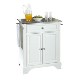 Crosley Furniture - Crosley Furniture LaFayette Stainless Steel Top White Kitchen Island - Crosley Furniture - Kitchen Carts - KF30022BWH - Constructed of solid hardwood and wood veneers this kitchen island is designed for longevity. The beautiful raised panel doors and drawer front provide the ultimate in style to dress up your kitchen. The deep drawer are great for anything from utensils to storage containers. Behind the two doors you will find an adjustable shelf and an abundance of storage space for things that you prefer to be out of sight. Style function and quality make this kitchen island a wise addition to your home.