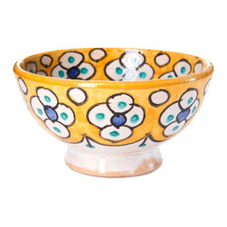 "4"" (12 cm) Fes Pottery Bowl, Lemon - Handmade in Fes, the pottery capital of Morocco. No two designs are ever the same because the artisans don't work with templates, each piece is completely unique."