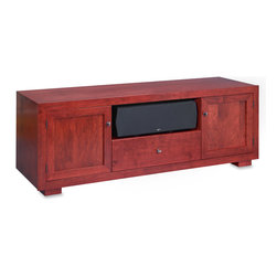 Standout Designs - Standout Haven EX 72w Solid Wood Media Console, Rose on Cherry, Wood Doors - Pennsylvania craftsmen skillfully build Standout Designs Haven EX media consoles using premium American solid lumber extensively throughout. Choose from five beautiful finishes: Natural Walnut, Espresso stain on Cherry, Rose stain on Cherry, Sunrise stain (a light tint) on Cherry, and Black Lacquer on Ash. The Haven EX 72-inch media console hosts most flat screen TVs to 80 inches diagonal on its top. No assembly is required.
