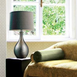 Muriel Contemporary Table Lamp - The Muriel table lamp is a modern classic. Sophisticated yet unpretentious. This classic chic design has a hammered chrome plated ceramic base with a round grey faux silk shade.