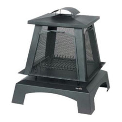 Char-Broil - Char Broil Trentino Outdoor Fireplace - Outdoor fireplace made from durable steel with protective porcelain finish 4 mesh side screens contain sparks and provide view of fire from every angle.  Removable screens allow for stoking fire or roasting marshmallows. Elevated fire platform built in log rack some assembly required. 1 year limited warranty.