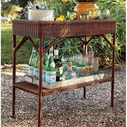 All-Weather Wicker Bar from Pottery Barn - This bar from Pottery Barn is an all-weather wicker; another nice way to bring the indoors to the outside.