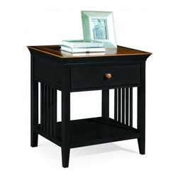 """American Drew 181-400BM Drawer Night Stand - Black w/ Maple Top Sterling Pointe - Drawer Night Stand - Black w/ Maple Top - American Drew Sterling Pointe Collection 181-400BMFeatures:1 Shelf1 DrawerThis Price Includes:Drawer Night Stand - Black w/ Maple TopItem:Weight:Dimensions:Drawer Night Stand - Black w/ Maple Top48 lbs26"""" W X 17"""" D X 28"""" HManufacturer's Materials:Maple and Hardwood SolidsMaple & Poplar Veneers & Simulated Wood Components"""