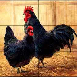 The Tile Mural Store (USA) - Tile Mural - Hen & Rooster - Kitchen Backsplash Ideas - This beautiful artwork by Laurie Snow Hein has been digitally reproduced for tiles and depicts a nice hen and rooster scene.  This tile mural with images of farm animals on tiles would be perfect as a part of your kitchen backsplash tile project. Farm animal tiles with pigs on tiles and images of cows on tile make an impressive kitchen backsplash idea. Rooster tile murals and pictures of roosters on tiles is timeless and will never go out of style.