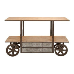 """BZBZ55840 - Reclaim Metal Wood Storage Cart 63""""W x 38""""H - Reclaim Metal Wood Storage Cart 63""""W x 38""""H. Some assembly may be required. Size: 63""""x22""""x38"""" Made with solid wood and iron alloy"""