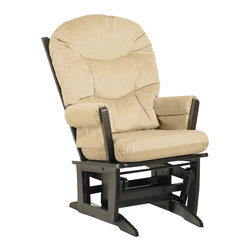 Dutailier - 26 in. Modern Glider Chair in Espresso Finish (Beige) - Fabric: Beige. Ottoman not included. Exclusive glide system. Top quality sealed ball bearings. Removable foam cushions and padded arms. Easy care micro fiber fabric. Frame made from hardwood. Minimal assembly required. Made in Canada. 31 in. W x 26 in. D x 43 in. HThis Modern glider offers an exceptionally smooth and extra long glide motion with thick cushions and padded arms. The combination of its contemporary design and espresso finish will add value to any room. There are no sharp edges, the finish is toxic free and this product meets all safety standards.