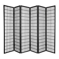 Oriental Furniture - 6 ft. Tall Window Pane Shoji Screen - Double Sided - Black - 6 Panels - A traditional Japanese design adapted for the modern home, this double sided Shoji Screen has a wooden lattice on both the front and the back and looks great from every angle. The translucent rice paper provides privacy without blocking light, and is fiber-reinforced for added durability. This elegant, time-tested design complements any style of decor and is a sophisticated choice for partitioning a room, providing privacy, or adding a cosmopolitan interior accent.