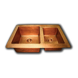 TCS Home Supplies - Hand Hammered Finish Copper 60/40 Double Bowl Undermount / Drop In Kitchen Sink - *High quality heavy duty 16 gauge  copper.