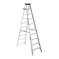 Werner 310 10 ft. Aluminum Step Ladder - The Werner 310 10 ft. Aluminum Step Ladder is ideal for a variety of duties on the job site or on the home front. This quality ladder is made of heavy duty aluminum and features a 300-pound weight capacity. It also features a molded polymer top that can hold tools, paint can, or other items. Outside pinch-proof spreader locks offer stability while a double riveted construction offers outstanding strength and durability.About WernerWerner is an industry leader that has manufactured and distributed ladders and climbing equipment for over 60 years. Werner ladders are found on more trucks and job sites than all other brands combined. Each product offers a state-of-the-art design and manufacturing process, creating professional-grade products that are made to be utilized in the home as well as on the job site. Werner Co. products are built to meet or exceed all applicable American National Standards Institute (ANSI) and Occupational Safety and Health Administration (OSHA) code requirements.