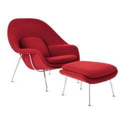 Knoll - Womb™ Chair and Ottoman in Fabric, Chrome Frame - The expressive sculptural forms of Eero Saarinen's furniture can also be found in his architecture, from the TWA Terminal at Kennedy Airport to the Gateway Arch in St. Louis to Dulles International Airport. In 1940, the Finnish American and his friend Charles Eames took first prize at the Organic Design in Home Furnishings competition at MoMA. Later that decade, when Florence Knoll challenged Saarinen to create a chair that she could curl up in, she had found the right candidate for the task. The Womb Chair and Ottoman (1946) has an enveloping form that continues to be one of the most iconic and recognized representations of mid-century organic modernism. By applying foam molded over a fiberglass shell, Saarinen created a single-piece form that perfectly facilitates a relaxed sitting posture. Manufactured by Knoll according to the original specifications of the designer. Made in U.S.A. Sonnet fabric is a DWR Exclusive. To see more of our top pinned items, click here.