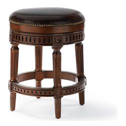 "Frontgate - Manchester Swivel Counter Height Backless Bar Stool (24""H seat) - Handcrafted of solid birch. Rich brown leather upholstery is produced in a multistage tanning process that uses only the hide's desirable top grain. Hand-applied brass nailhead trim accentuates the stool's masculine character. Brass-plated footrest and nonmarring floor glides protect the beauty of the stool and your floors. The lifetime-guaranteed, 180˚ memory-return swivel smoothly rotates on stainless steel ball bearings. Enhanced with elegant details and individually applied nailhead trim, Manchester's solid-birch hardwood frame features a rich, hand-rubbed finish. Top-grain leather upholstery is tanned for authentic character and selected to complement the stools's lassic lines. . Rich brown leather upholstery is produced in a multistage tanning process that uses only the hide's desirable top grain. Hand-applied brass nailhead trim accentuates the stool's masculine character. . . Arrives assembled."