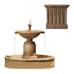 Campania International - Borghese w/Basin - Aged Limestone (AL) - The Borghese Fountain with Basin (FT-224) from Campania International is a visually striking, classic European urn fountain. Add a bit of drama to your entrance or garden. Made of cast stone. Pump included. Weight: 490 lbs.