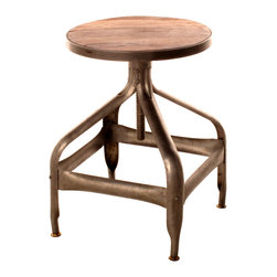 Kathy Kuo Home - Draftsman's Industrial Loft Wood Iron Swivel Stool - The truly vintage look of this draftsman's stool will inspire you to take a seat and get to work! The combination of its handsome stained wooden seat and bronze hued iron base completes your industrial loft's home office. Or, slide several of these up to a reclaimed wood bar so you and your guests can hoist pints of Guinness in style.