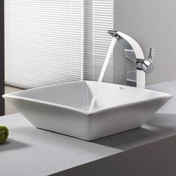 Kraus - Kraus White Square Ceramic Sink and Illusio Faucet - Add a touch of elegance to your bathroom with a ceramic sink combo from Kraus