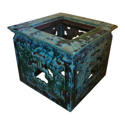 Golden Lotus - Chinese Turquoise Ru Yi Clay Square Garden Table - This is a unique hand made clay / ceramic material table. It has open oriental Ru-Yi scroll pattern around the table.  It is glazed with natural turquoise green color. Its material make it good for both outdoor and indoor.  Especially, it can be used as tea table at your garden.