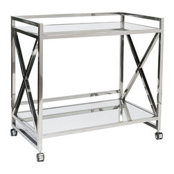 "Worlds Away - Worlds Away Gerard Polished Stainless Steel Bar Cart - Polished Stainless ""x"" Bar Cart with Mirrored Shelves."