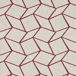 Red and Off White Geometric Boxes Upholstery Fabric By The Yard - This contemporary fabric is an excellent choice for all indoor upholstery! In addition to looking like linen, this material is woven for enhanced appearance and durability.