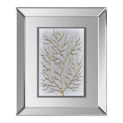 Branching Out II - Sea inspired branches are hand-painted on a light grey textured background and float beautifully in a mirrored frame.