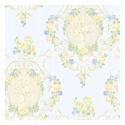Brewster Home Fashions - Maybelle Blue Cameo Damask Wallpaper. - Enrich any room with this courtly Victorian damask printed wallcovering. Pearlescent hand-painted cameos combined with elegant and lush florals bring a grandiose, vintage presence with a stately touch of modern.