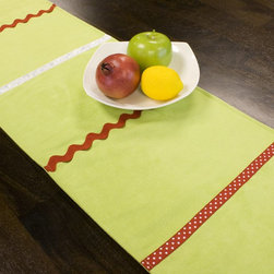 Chooty & Co. - Chooty and Co Passion Suede Lime Table Runner Multicolor - RUL72T2031 - Shop for Runners from Hayneedle.com! Decorative and festive the Chooty and Co Passion Suede Lime Table Runner welcomes guests to your holiday table in style. This table runner is made of 100% polyester suede in zesty lime green. A variety of fun trims include red ric rac red and white polka dots and winter white ribbon. Hand- or spot-clean for enduring beauty.About Chooty & Co.A lifelong dream of running a textile manufacturing business came to life in 2009 for Connie Garrett of Chooty & Co. This achievement was kicked off in September of '09 with the purchase of Blanket Barons well known for their imported soft as mink baby blankets and equally alluring adult coverlets. Chooty's busy manufacturing facility located in Council Bluffs Iowa utilizes a talented team to offer the blankets in many new fashion-forward patterns and solids. They've also added hundreds of Made in the USA textile products including accent pillows table linens shower curtains duvet sets window curtains and pet beds. Chooty & Co. operates on one simple principle: What is best for our customer is also best for our company.