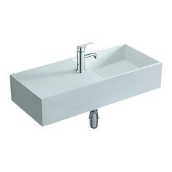 ADM - ADM Matte White Wall Hung Stone Resin Sink - Half basin, half counter, with a faucet in the middle, this sink is a smart space-saver for your bath. The matte white stone resin rectangle offers sleek, modern style.