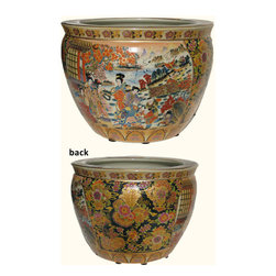 """n/a - Chinese Porcelain Fishbowl Planters in Satsuma Geishas, 14"""" - Available in six sizes, this 14"""" porcelain fish bowl planter from China has a traditional Japanese Satsuma style pattern. Two panels are painted with geisha's in kimonos while butterflies and flowers are on the other two panels. Inside the fishbowl are decorative swimming Koi fish. Rich metallic gold is glazed in floral accents so thick that it's textured. The color pallet is wide and the contrasting tones make a great visual. We provide hard to find large floor sizes or use smaller sizes for table top décor. Add an elegant design statement to your planter with one of our vase stands available in a wide assortment of styles and wood types.  Remember to use the bottom diameter size when selecting your stand."""